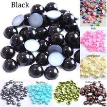 Perles acryliques d'imitation, demi-rond, rouge, noir, rose, pour la fabrication de bijoux, accessoires de bricolage, 2/3/4/5/6/8/10/12/14 MM