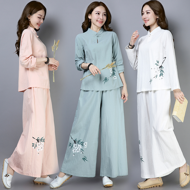 Spring autumn new national style sets women's Print Tops wide leg pants two sets retro Chinese clothes hand-painted casual sets
