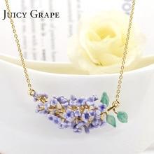 Juicy Grape collar de esmalte esmaltado hecho a mano para mujer, collar dorado con flor de lavanda fresca, joyería para niña, Bisutería