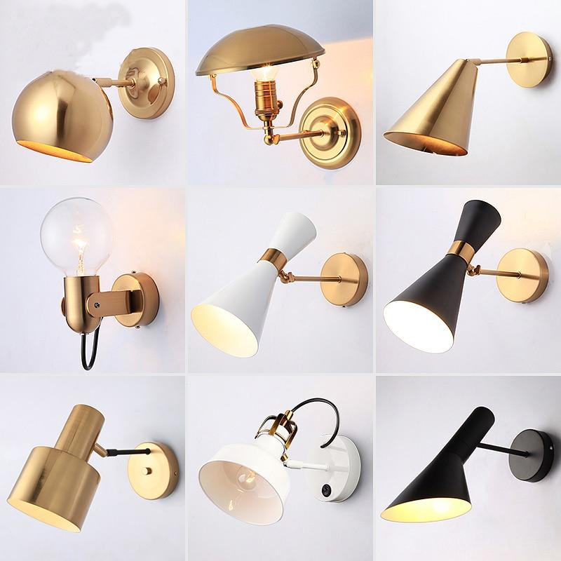 Nordic Schlafzimmer Nacht Lampe Wand Lampe Einfache Moderne Gang Korridor Hotel Goldene Hintergrund Wand Lampe Kreative LED Lampe