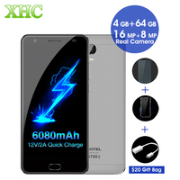 OUKITEL K6000 Plus 6080mAh Smartphone 4GB 64GB 12V 2A 5 5 Inch Android 7 0 MTK6750T