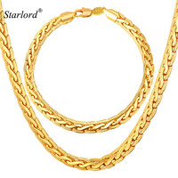 18K Stamp Men S High Quality 18K Gold Plated Chunky Necklace Bracelet Chains Snake Necklace