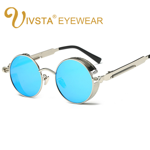 df6721832e IVSTA Gothic Steampunk Mens Sunglasses Coating Mirrored Sunglasses Round  Circle Sun glasses Retro Vintage Gafas Masculino