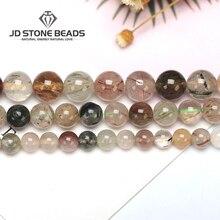 Зеленый рутиловый кварц натуральный кристалл для волос Высокое качество 6 8 10 12 мм Размер бусины для изготовления ювелирных изделий Diy бусины