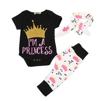 3PCS Outfit Toddler Kids Clothing Set Girls Clothes Short Sleeve Cotton T-shirt Tops +Geometric Pant+ Handwear PL6