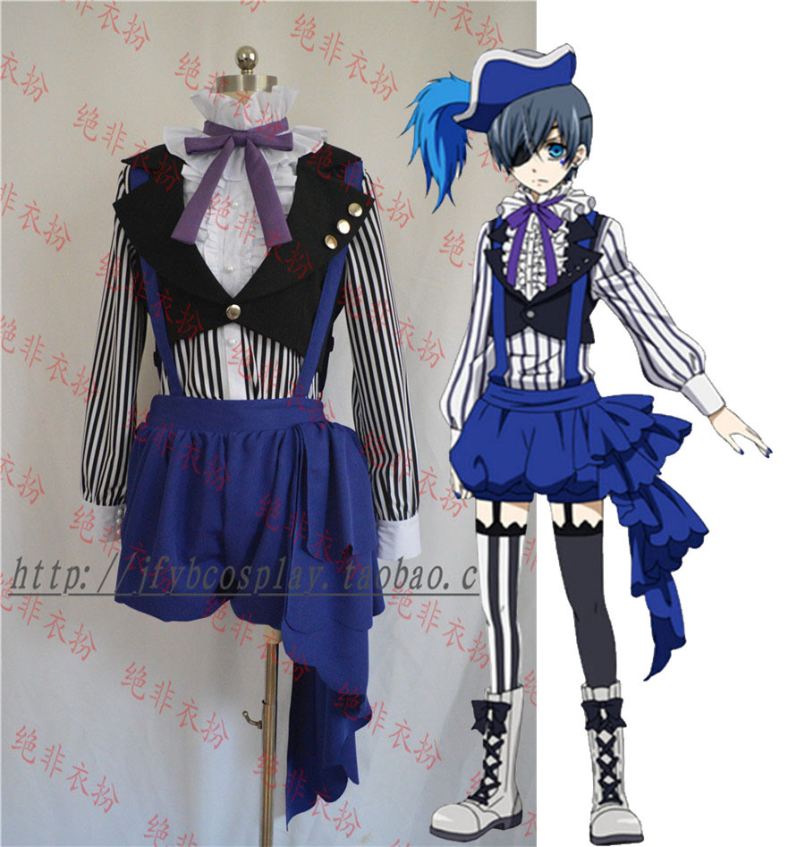 Black Butler Ciel Phantomhive Ciel Cosplay Set Circus Costume Blue Overall Black 5 in1 font b