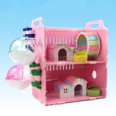 Cage de Hamster acrylique mis cochon d'inde Chinchilla Ferret maison bricolage petits animaux fournitures drôle souris jouet Double couche pet salon