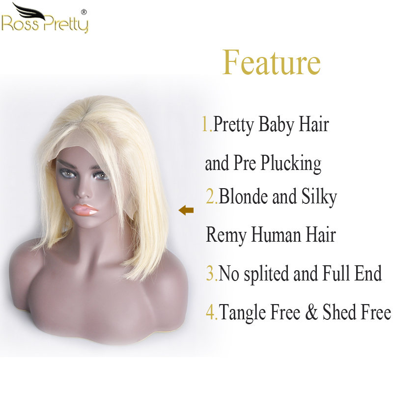 details straight lace frontal blonde human hair bob wig