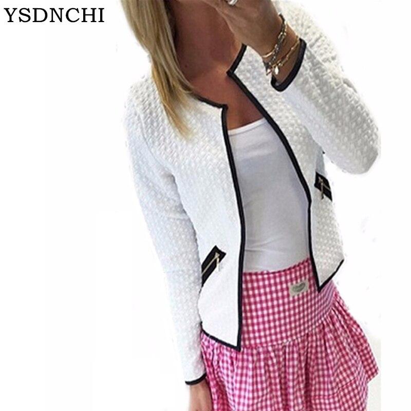 YSDNCHI Spring Autumn Women   Basic     Jacket   Long Sleeve Zipper Pockets Slim Short Cardigan Coat Casual Outwear Plus Size S-4XL
