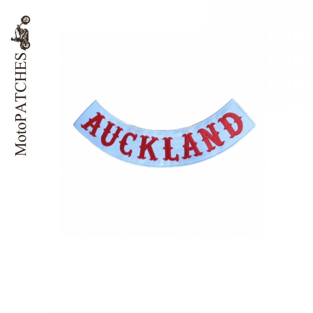 AUCKLAND Custom Bottom Rocker Red Font Embroidery Twill Biker Iron On Patches For Jacket Back ...