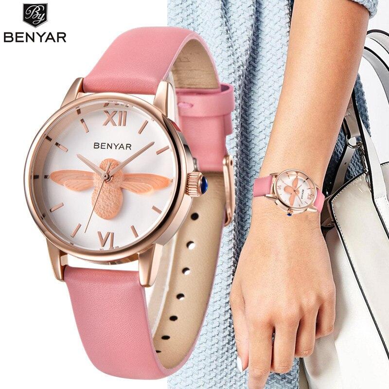 Mode Frauen Uhren Benyar Luxus Marke Damen 3D Bee Schwarz Gold Armbanduhr Relojes Mujer Montre Femme Tier Armbanduhr