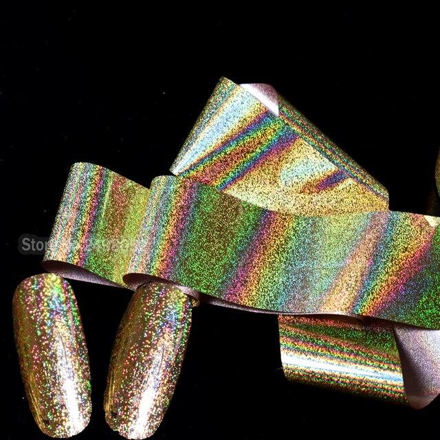 Oro láser holográfico brillo Manicura láminas de transferencia de ...
