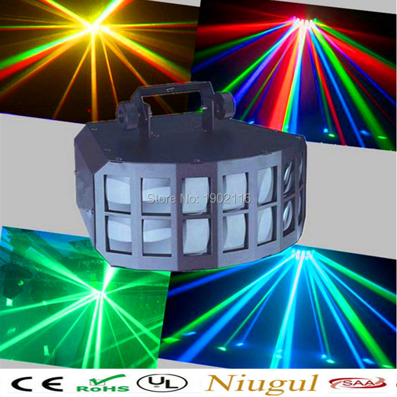 Niugul Professional DMX512 LED Butterfly Stage Effect Light 2x10W RGBW 4in1 LED Double Butterfly Light Club Disco Bar KTV Lights niugul rgbw led double butterfly 4in1 led stage effect lights party disco dmx512 led stage lamp dj equipment ktv party lights