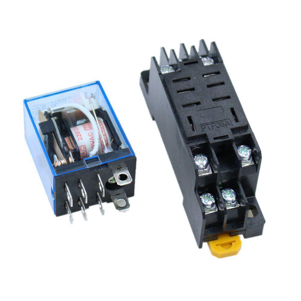 Relais Indicateur LED /à Bobine Avec Prise YJTF08A-E//Rail Rainur/é Aluminium//Vis//Crochet de Base YJ4N-GS-DC 24V 4NO 4NC TWTADE DC 24V Relais de Puissance /électromagn/étique 14 Broches DPDT