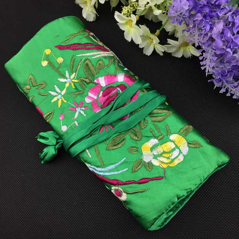 Large Embroidered Silk Jewelry Roll Travel Storage Case Sets Bag Ring Earring Bangle Bracelet Necklace Gift Pouch Packaging