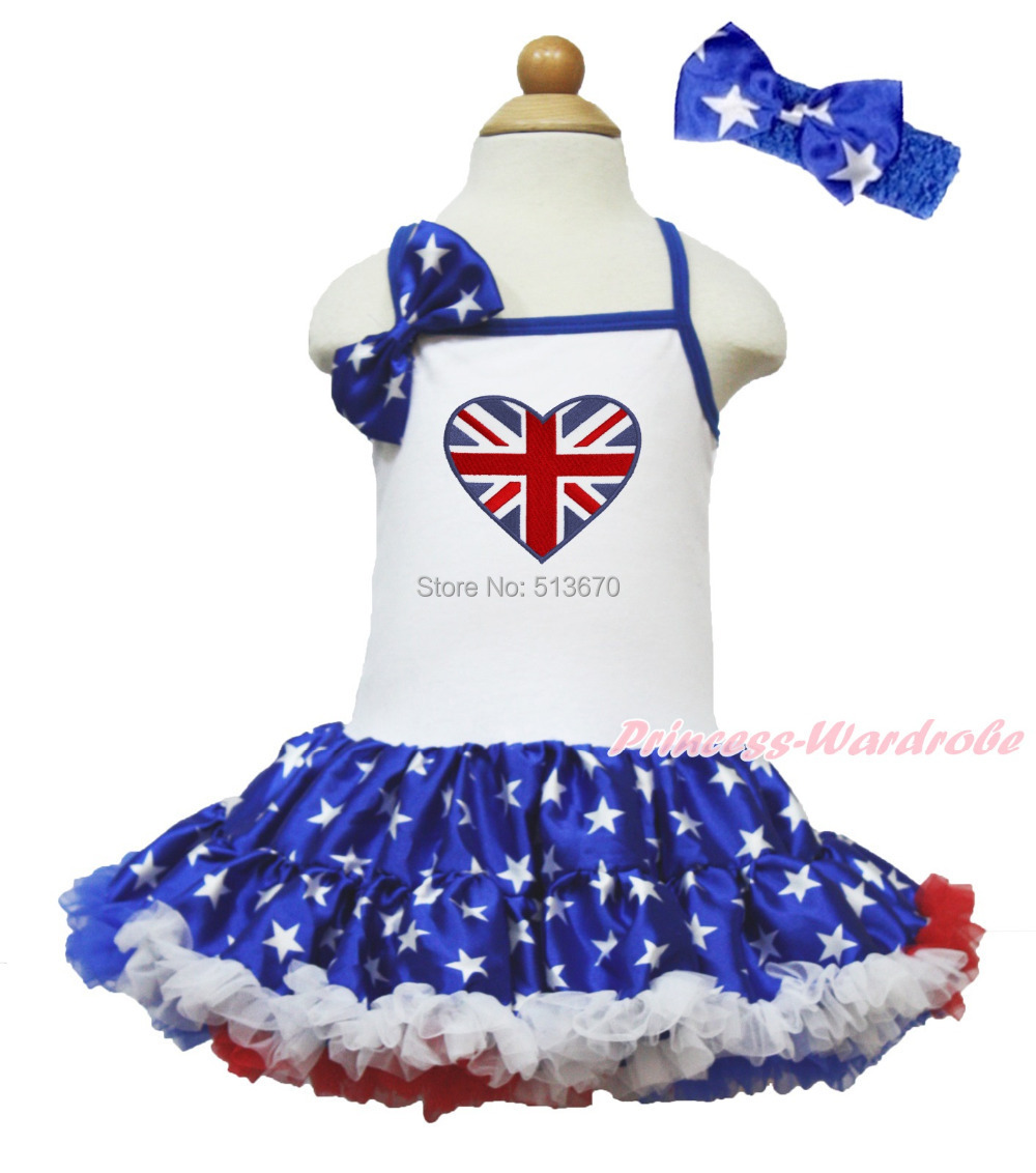 4th July British Flag Heart White Halter Patriotic Star One Piece Dress 1-8Year MAHD049 4th july america flag style stripe pettiskirt white ruffle tank top 2pc set 1 8year mamg1143