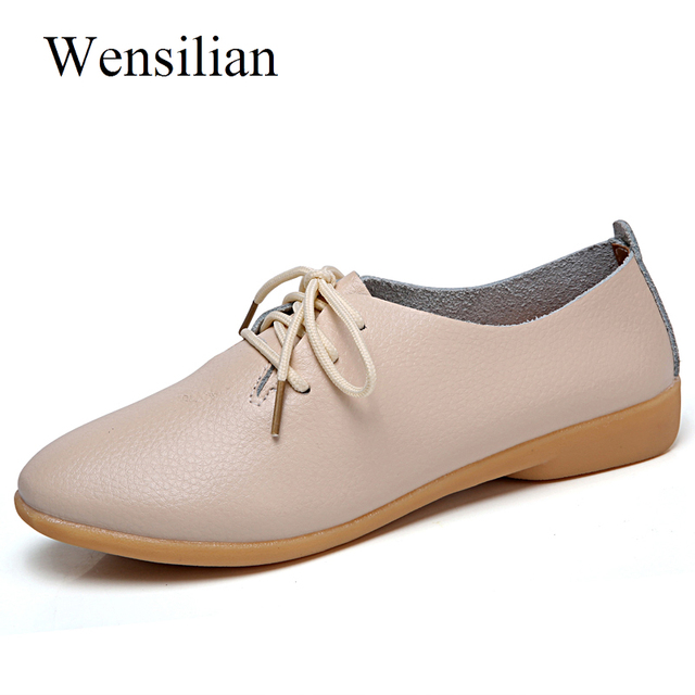 De las mujeres del cuero genuino Ballet Flats verano Oxford zapatos Casual mocasines Lace Up Baleriny mujer Mocassim