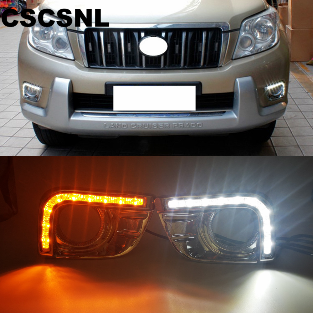 CSCSNL 1 set LED DRL Daytime Running Lights with trunning Yellow Signal lights For Toyota Prado