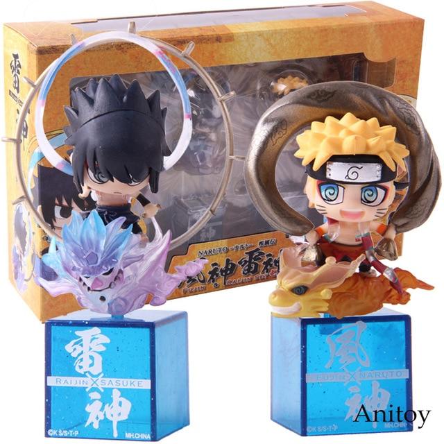 Naruto Shippuden Fujin Uzumaki Raijin Uchiha Sasuke PVC Figures (2 Pcs Set)