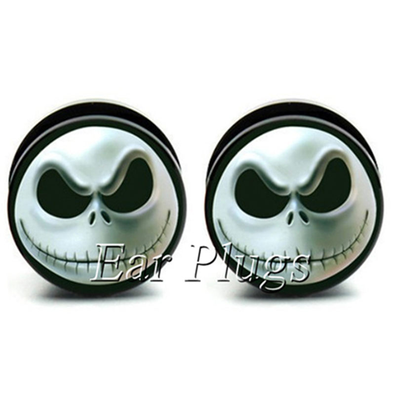 1 pair jack face acrylic screw ear plug gauges tunnel flesh tunnel body piercing jewelry PAP0294