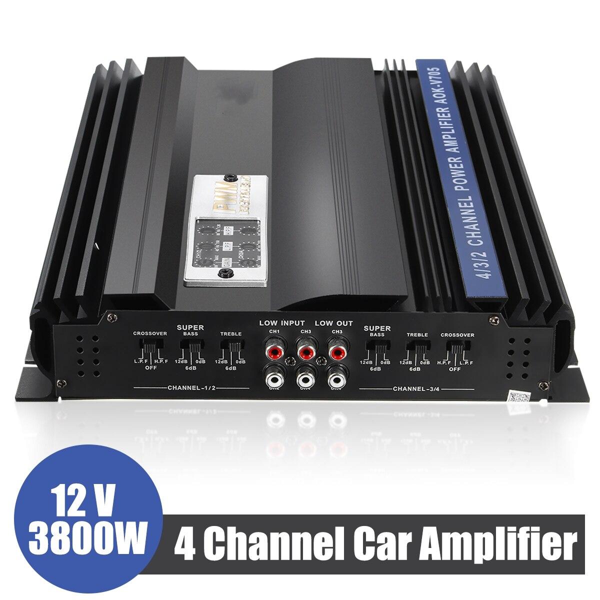 3800 Вт 4 канала Автомобильный усилитель динамик автомобильный аудио стерео бас усилитель супер бас выходная мощность стерео усилитель автом...
