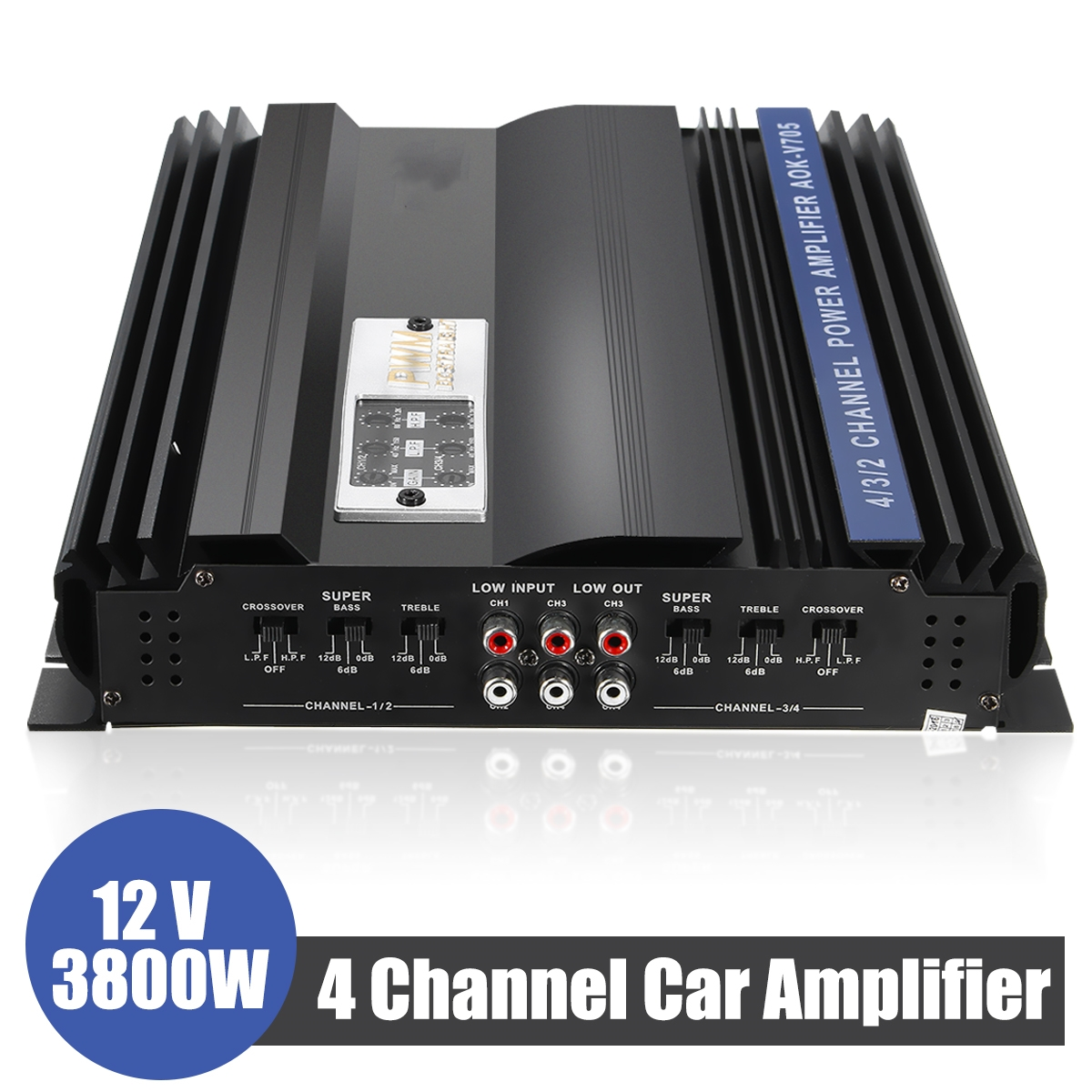 3800W 4 Channels Car Amplifier Speaker Car Audio Stereo Bass Amplifier Super Bass Output Power Stereo Amplifier Car Audio Player цена
