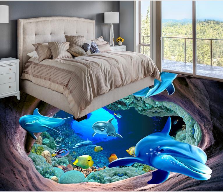 цена на 3d floor mural photo wallpaper customize wallpapers for living room floor 3d self adhesive wallpaper dolphin vinyl flooring