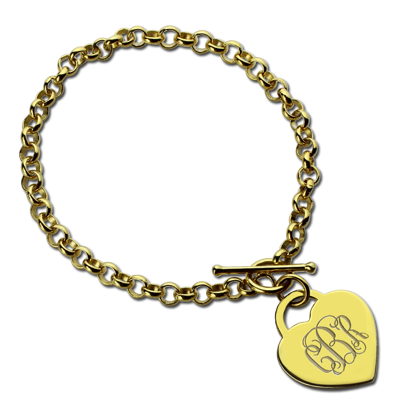 Aliexpress Com Gold Color Monogrammed Initials Bracelet Nameplate Charm Personalized Engraved Monogram Heart Unique Design From