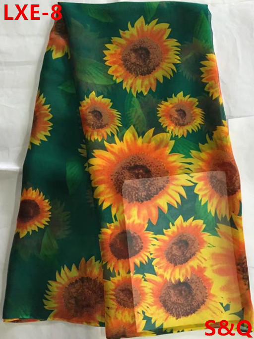 High quality 2018popular 5yard african 100 silk chiffon lace fabric for lady dress stretch high class