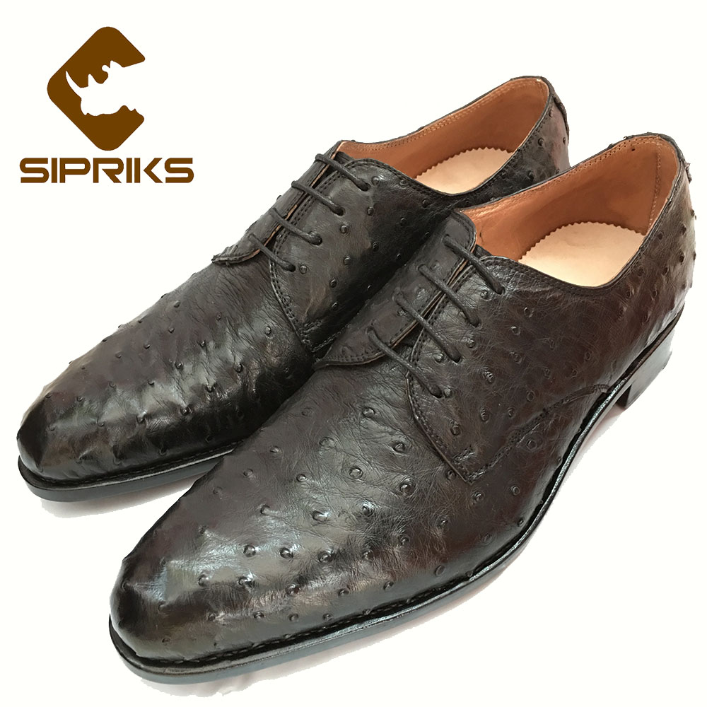 Audacious Sipriks Black Ostrich Skin Mens Social Shoes Bespoke Goodyear Welted Dress Shoes Elegant Tan Brown Hipster Boss Formal Shoes 46 Finely Processed Shoes