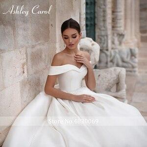 Image 5 - Ashley Carol A Line düğün elbisesi 2020 zarif yumuşak saten Cap Sleeve Lace Up düğmesi Sashes prenses gelin törenlerinde Vestido De Novia