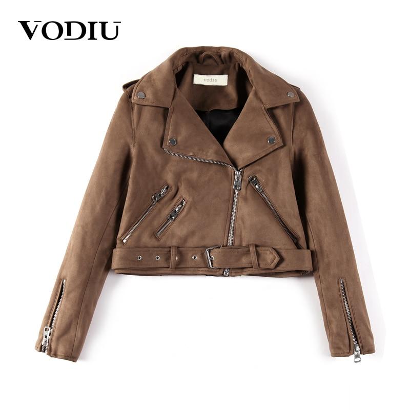 0b7554ce841 Vodiu куртка Для женщин Курточка бомбер замшевые пальто короткие тонкие  молнии куртки женские пояса Искусственная кожа Куртка Мото байкер