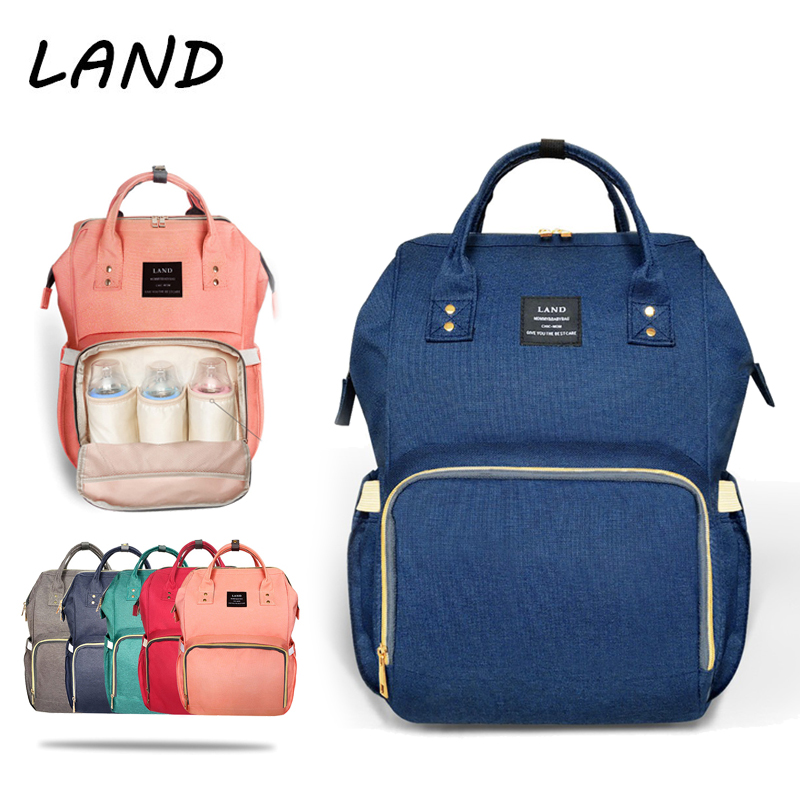 LAND Baby Bag Fashion Nappy Bags Large Diaper Bag Backpack Baby Organizer Maternity Bags For Mummy Handbag Baby Nappy Backpack mummy diaper bag multifunctional baby diaper zipper backpack bags big pocket baby nappy changing bag organizer maternity bags