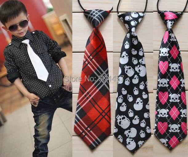 School Boys Necktie Ties Childrens Elastic  Rubber Band Styles Tie Black Skeleton Head Design Free Shipping 5 PCS
