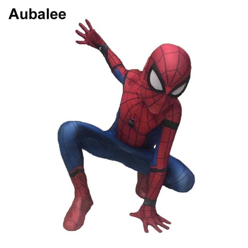 Новый детский костюм «Человек-паук» для мальчиков, Детский костюм «Человек-паук» из спандекса, костюм «зентай», костюм супергероя, костюм н...