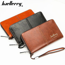 Baellerry Promotion Men Wallets High Quality Leather Wallet Men Clutch Coin Purse Single Zipper Purses Large Capacity Money Bags(China)