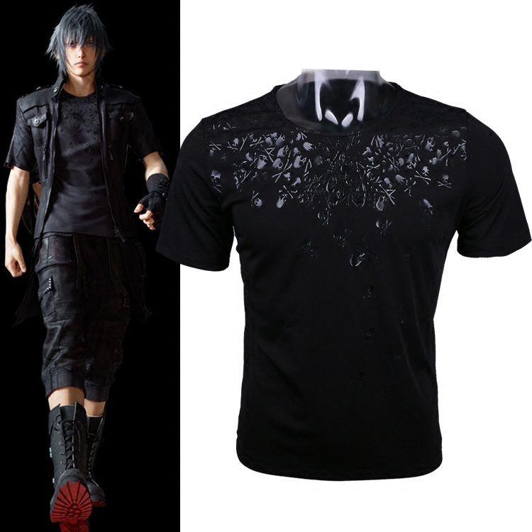 [Stock] Game Final Fantasy XV 15 Noctis Skull Printed Cotton T-hisrt Cosplay tshirt Summer Top Tee New Hot sale 2017 free shippi