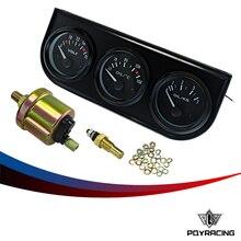 PQY-UNIVERSAL-52mm Eléctrico Kit de Triple (Temp Gauge aceite + Voltímetro + Medidor de Presión de Aceite) Sensor de Temperatura Del Coche Auto Gauge/Negro/Pod
