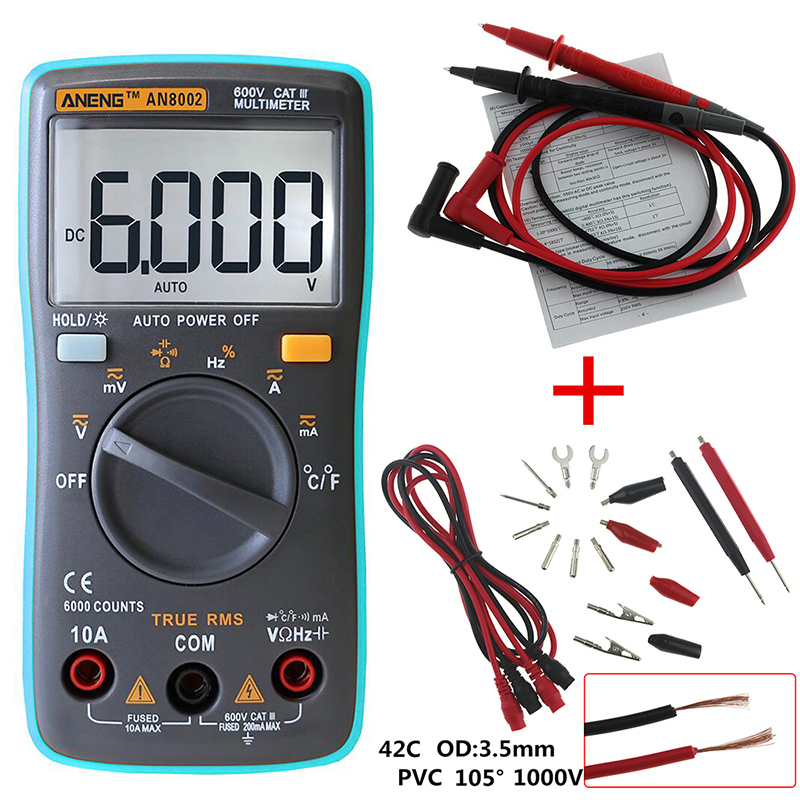 AN8002 6000 counts Multimeter Backlight AC/DC Ammeter Voltmeter Transistor TesterOhm Portable Temperature Meter Test Leads auto digital multimeter 6000counts backlight ac dc ammeter voltmeter transform ohm frequency capacitance temperature meter xj23