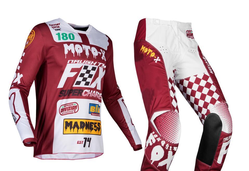 2019 vilain renard Motocross équipement ensemble haut MX ATV BMX Moto Jersey et pantalon à manches longues course Moto costume - 2