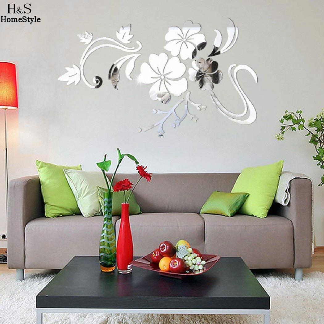Home 3D Coffee Cup Pattern Mirror Wall Stickers TV Sofa Background Decor 2Colors Home Décor Items
