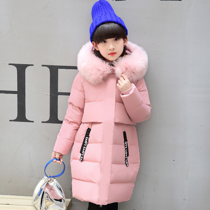 Mioigee Winter Fashion Casual Print Jacket for Girls Children Coats Girls Kids 2017 New Letter Warm Long Thick Hooded Outerwear 2017 girls down jacket winter long jackets children outerwear coats fashion big collar solid pockets thick warm overcoat 120 150