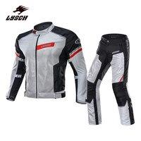 LYSCH летние отражательная куртка для мотоциклов Брюки для девочек Мужские дышащие, с сеткой мотокроссу костюм Protecciones Moto GP Куртки