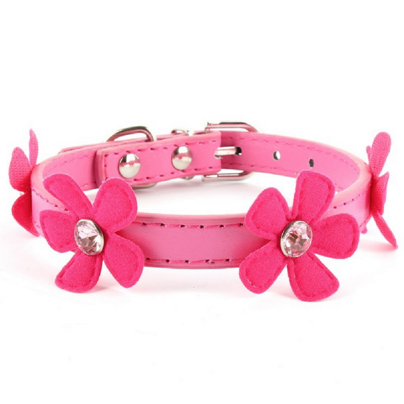 New Fashion Adjustable Flower Leads Neck Strap Pet Small Dog Cat PU Leather Collar Buckle XS S M L