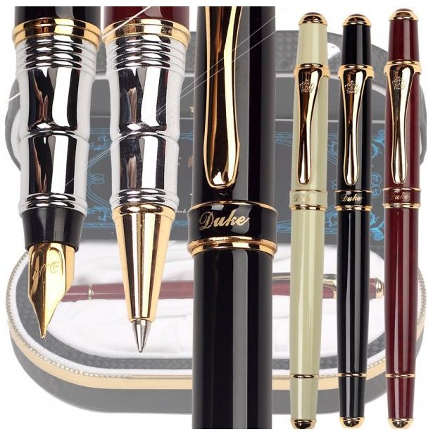 Fountain Pen or RollerBall pen original box 3 colors to choose 12pcs/lot  DUKE 8-1 standard pen stationery Free Express Shipping 8pcs lot wholesale fountain pen black m 14 k solid gold nib or rollerball pen picasso 89 big executive stationery free shipping