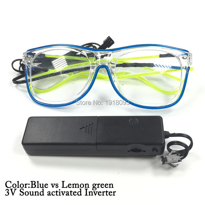 Cheap-toys Double Color EL Wire Led Glowing Glasses Neon glow light DC-3V For Wedding Decoration
