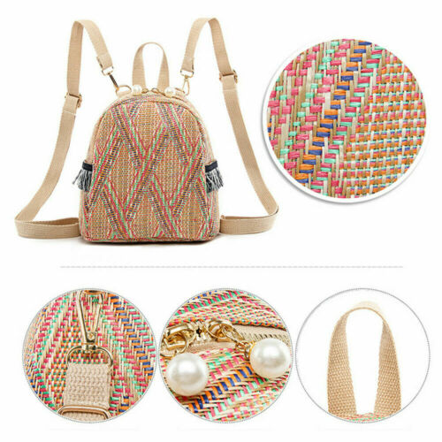 Ladies Straw Anti Theft Rucksack School Shoulder Bag Satchel Tote Bags Hot New Women Girl Rattan Straw Bag Woven Female in Shoulder Bags from Luggage Bags