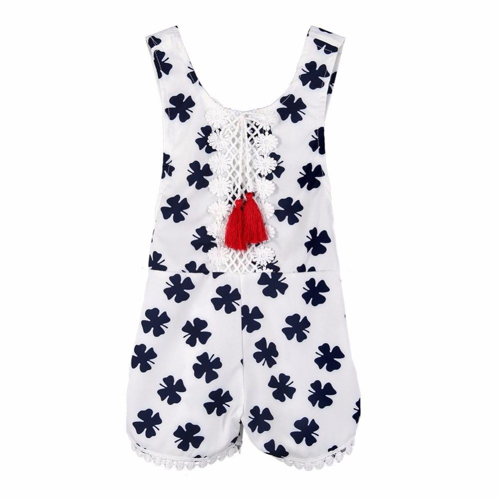 2017 Summer Cute Newborn Baby Girls Romper Clover Print Clothes Sleeveless Backless Halter Jumpsuit Outfits Toddler Kids Sunsuit body of art