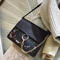women bags pu leather handbag 2016 Floral embroidered bag female Hoop shoulder crossbody bag Stella designer chain sling bolsas
