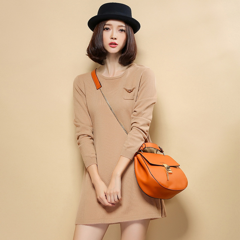 Women's Crew neck 100% Cashmere Long Sweaters Dress Knitted Pocket Pullover Women Sweater 2015 Winter Autumn Jumper Femme